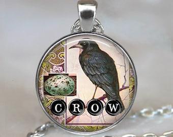 Crow Collage art pendant, Crow jewelry, Crow necklace, crow pendant, symbolic jewelry crow jewellery keychain key chain key ring key fob