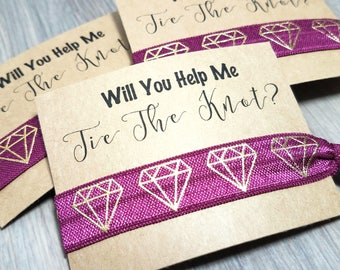 Will You Help Me Tie The Knot Hair Tie Favors | Wedding Proposal Favors | Bridesmaid Proposal Hair Tie Favors | Maid of Honor Proposal