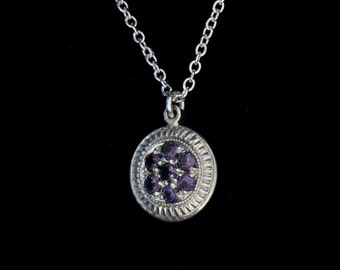 Vintage Inspired - Art Deco - Royal Purple - Amethyst - Hand Engraved - Sterling Silver Pedant- Traditional Pave