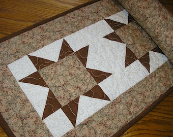 Quilted Table Runner, Quilted Star Runner, Brown Star  Runner, 13  x 40  inches