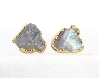raw labradorite studs | labradorite jewelry | rainbow crystal studs | rainbow stone studs | raw gemstone studs | rough crystal studs