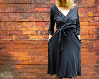 Long Sleeve Black Women's Wrap Dress with Pockets |Plus Size Wrap Dress|Maternity Wrap Dress|Long Wrap Dress|V Neck Dress|Adjustable Dress|