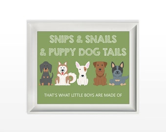 018 Snips and Snails and Puppy Dog Tails Printable Little Boys Nursery Wall Art Home Decor Print 8x10 jpg and pdf file INSTANT DOWNLOAD