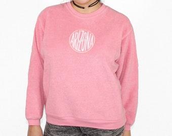 Vintage Arizona Logo Pink Fuzzy Sweater, 90s Pink Fuzzy Sweater, 90s Pink Fuzzy Jumper