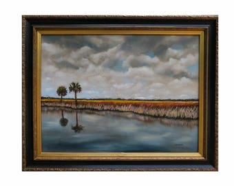 ORIGINAL OIL PAINTING 18x24 Florida Everglades Landscape Art Framed