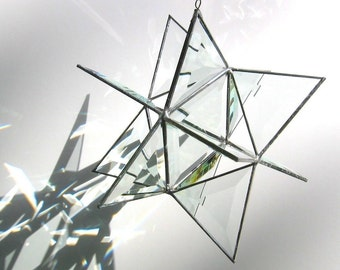 Guiding Light - 3D Stained Glass Moravian Star - Extra Large Geometric Home Decor Prisms Hanging Suncatcher Yard Art (MADE TO ORDER)