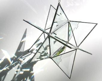 Leitende Licht - 3D Glasmalerei mährischen Stern - Extra große geometrische Wohnkultur Prismen hängen Suncatcher Yard Art (Massanfertigung)