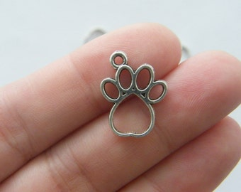 10  Paw  charms antique silver tone A474