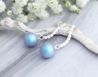 Light blue pearl earrings Wedding earrings Pastel bridesmaid earrings Sterling Silver earring Cubic zirconia earring Pearl jewelry Swarovski