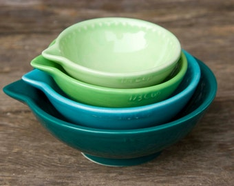 Measuring cups, Teal green Ombre' - dark to light - ready to ship - hand painted