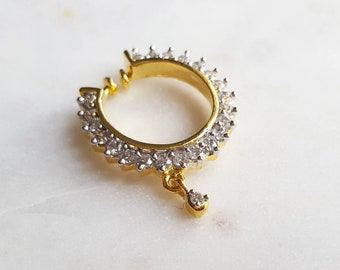 Mini Sparkly Cubic Zirconia and Gold Nose Ring Nath for Indian Wedding, Nose Ring for Non-Pierced Nose, Indian Jewelry, Bridesmaid Gift