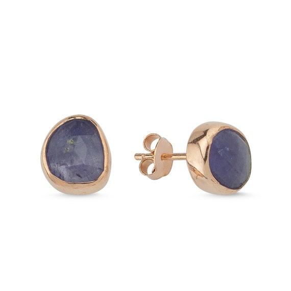Silver Natural Tanzanite Earrings, Rose Gold Earrings, Tanzanite Earrings, Tanzanite Stud Earrings, Minimalist, Minimal, December Birthstone