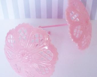 2 Pink Lacey Plastic Parasols Cake Decorations
