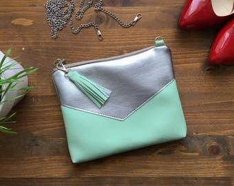 Mint Clutch bag Crossbody Purse Mini clutch purse for women Clutch bag Evening purse Vegan bag Tassel Small Purse Vegan Leather bag