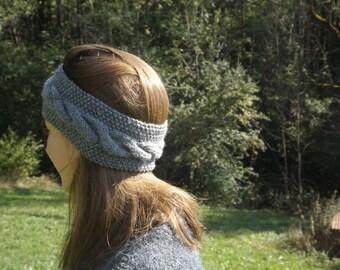 Grey wool headband twist (35% wool)