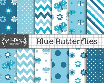 Blue Butterfly Digital Paper Pack, Commercial Use, Blue Scrapbook Papers, Background, Instant Download