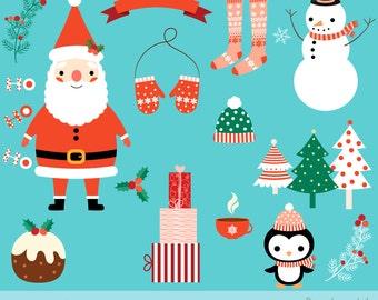 Cute Christmas clipart set, Kawaii Christmas clip art, Digital Christmas graphics, Santa clipart, Christmas penguin clipart, Snowman clipart