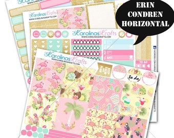 Summer Flamingo Stickers, Summer Planner Kit stickers 200+ Planner Stickers, Erin Condren Horizontal Planner Sticker #SQ00663-ECH