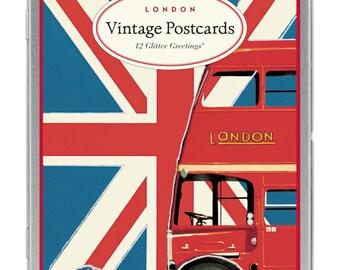 Vintage London glitter greetings Carte Postale postcard set London England