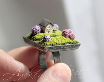 House ring - Polymer clay miniature - Home Sweet Home Jewelry - Green lilac - Square Adjustable ring - Spring landscape - trees