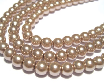 100pcs Dark brown Glass pearls Beads 6mm Round
