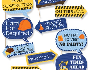 Funny Construction Party Photo Booth Props - Construction Zone Photo Booth Prop Kit - Funny Under Construction Selfie Photo Props - 10 pc