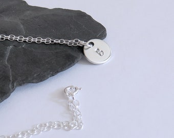Personalized Initial Disc Necklace, Monogram Necklace, Silver Letter Necklace, Silver Necklace, Initial Pendant, Disc Necklace, Hand Stamped