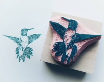 Unique, have carved, hummingbird, rubber stamp