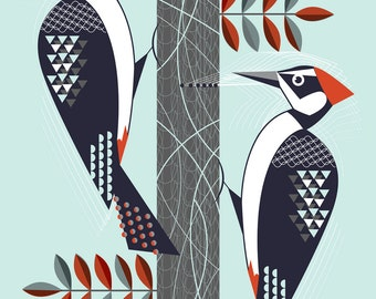 A4 Woodpeckers print