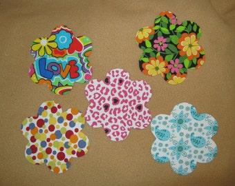 "Applique handmade Flowers - 4 1/4 x 4 1/4"" - Set of 5  - Iron on Sew on"