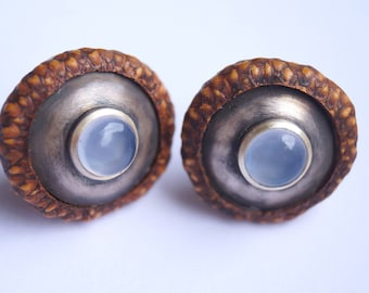 Oak capsule, chalcedony, silver Stud Earrings