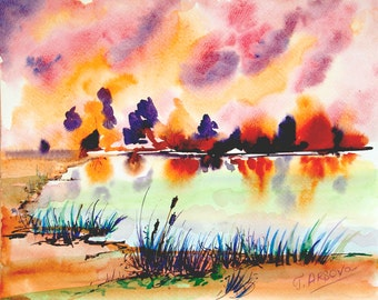 SUNSET PAINTING- Original Landscape painting, Watercolor Landscape Painting, Watercolor painting of Nature, contemporary art, wall decor