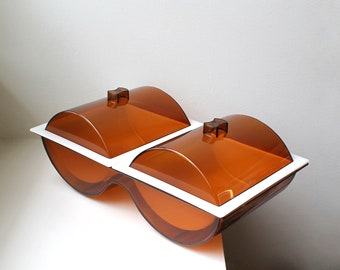 Vintage Mod Double Bowl Hot / Cold Server Covered Dish Amber Plastic Scandinavian Space Age Atomic