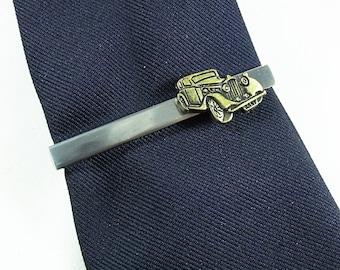 Tie Bar Tie Clip,  Silver and Brass Antique Car  Mens Accessories  Handmade