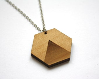 Collar with wood pendant, hexagon shape, Art Déco inspiration, made in France, laser cut, hand made, Paris, geometric shape / chic / modern
