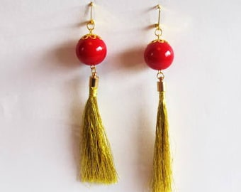 Gold Tassel Earrings dark red round beads, gold color hook clasp and tassel caps, girls, party, original