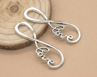 Infinity Charm, Connector, 10pcs, 38mm, Silver Link, Love,   Connectors - C511