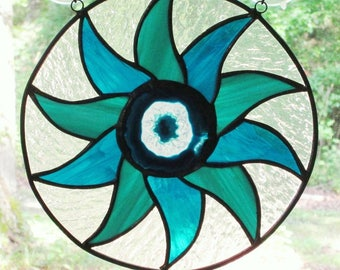 """Stained Glass Panel - Pinwheel with Blue and Teal Glass  - Center Blue and Crystal Agate - 10"""" in Diameter"""