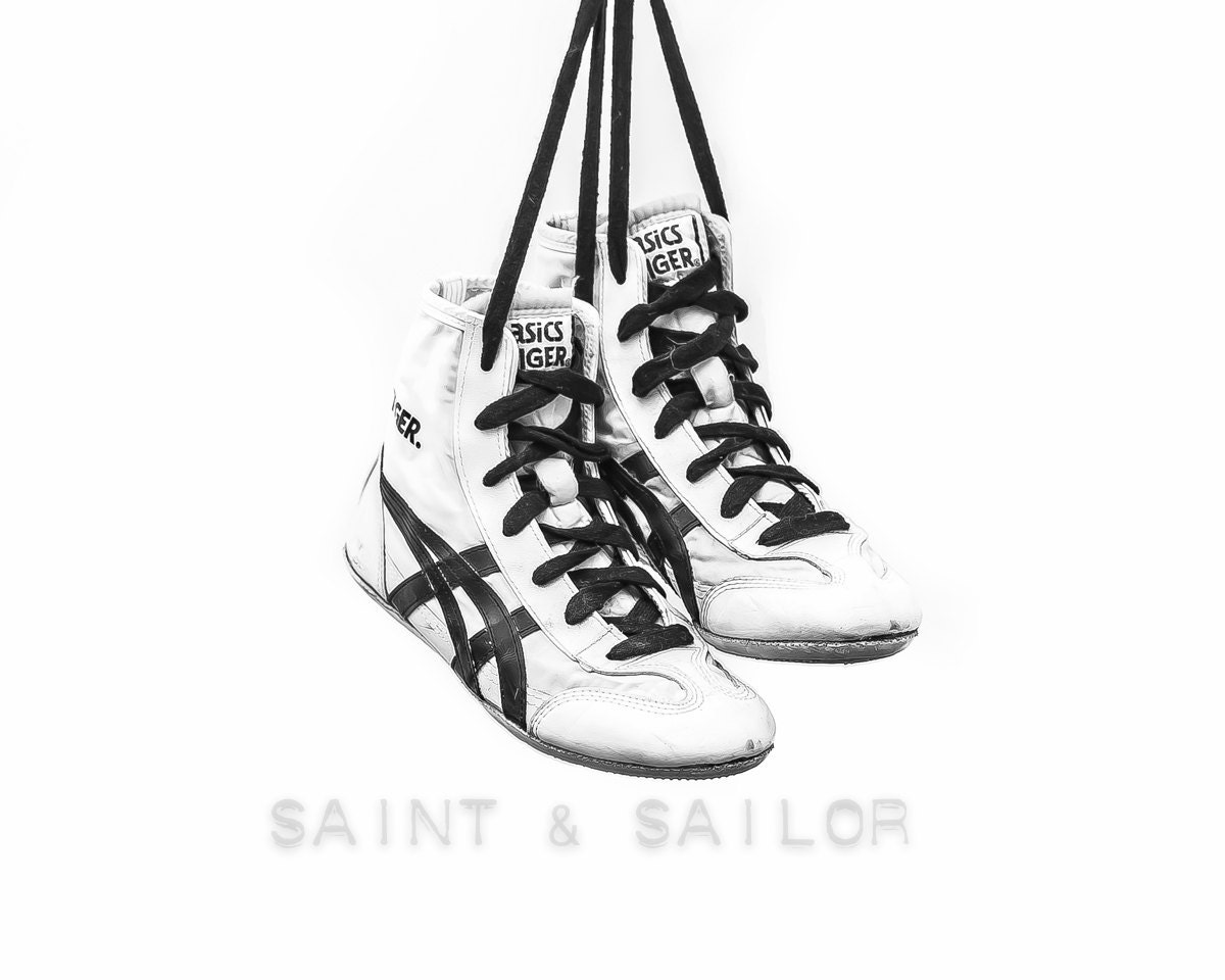 Black and White Vintage Wrestling Shoes on White Photo Print