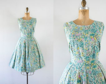 1960s Monet's Palette whimsical cotton dress / 60s fit n' flare