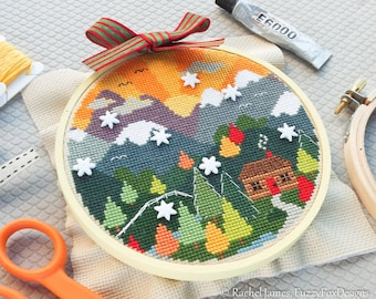 Woodland Cottage Cross Stitch Pattern PDF | Autumn Mountain Cross Stitch | Easy | Modern | Beginners Counted Cross Stitch Chart