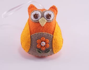 Hand stitched Owl Ornament, Vibrant Wool Felt Owl, Hand Embroidery Flower design Owl,  Owl Decoration, Owl Car Charm