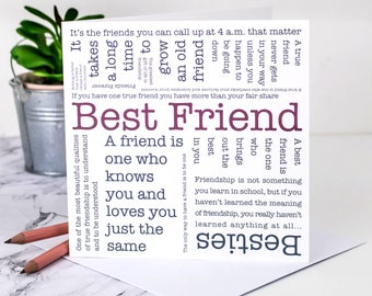 Best Friend Card; Best Friend Birthday Card; Best Friend; Friendship Card; Friends Card; Friendship; Friendship Quotes; GC572