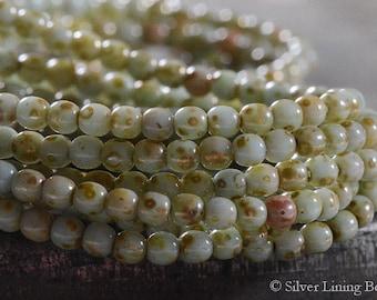 Palest Jade Bits (50) - Czech Glass Bead - 3mm - Druk