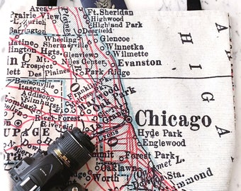 Chicago Map Tote - Chicago Map Bag - Chicago Tote Bag - Chicago Bag - Travel Tote - Chicago Tote - Bachelorette Party
