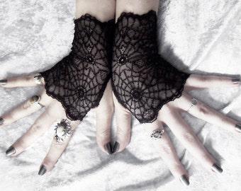 Arachne Lace Fingerless Gloves   Black Fishnet   Embroidered Spider Web   Gothic Vampire Lolita Wedding Goth Fetish Glam Bridesmaid Woodland