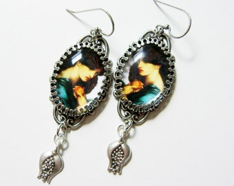 Persephone Earrings - Preraphaelite Earrings - Pomegranate Earrings - Goddess Earrings - Myth earrings - Proserpine Earrings - Green Earring