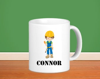 Construction Kids Personalized Mug - Construction Worker Boy with Name, Child Personalized Ceramic or Poly Mug Gift