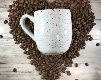 Farmhouse Mug, Handmade Mug, Ceramic Mug, Speckled Pottery, Shabby Chic, Coffee Mug, Coffee Gift, Pottery Mug, Girly Mug