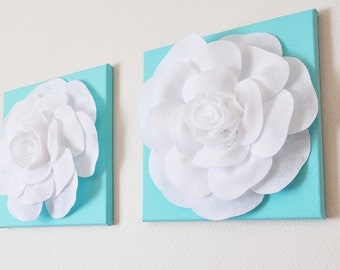"TWO Wall Hangings -White Roses on Aqua Blue Pool Blue 12 x12"" Canvases Wall Art- Baby Nursery Wall Decor-"